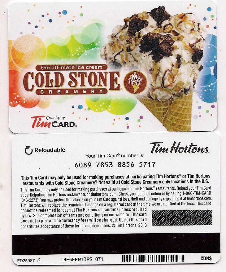 Tim Hortons Coldstone Gift Card 2012 FD32658