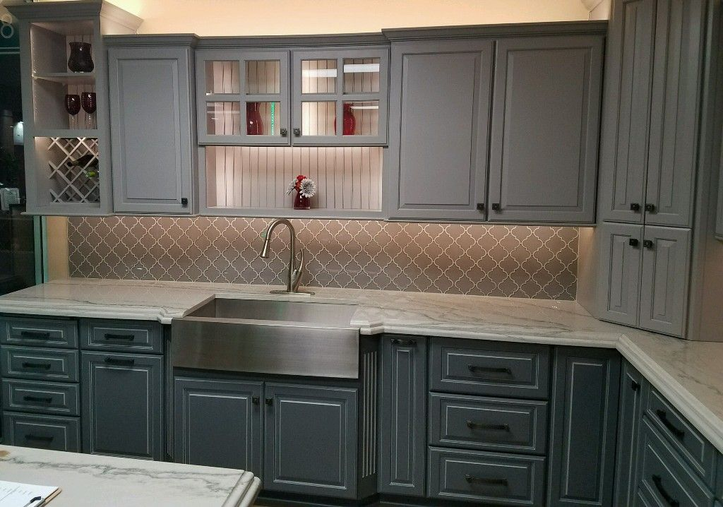 This Display Features Bridgewoods Light And Medium Grey Kitchen Ca - Medium grey kitchen cabinets