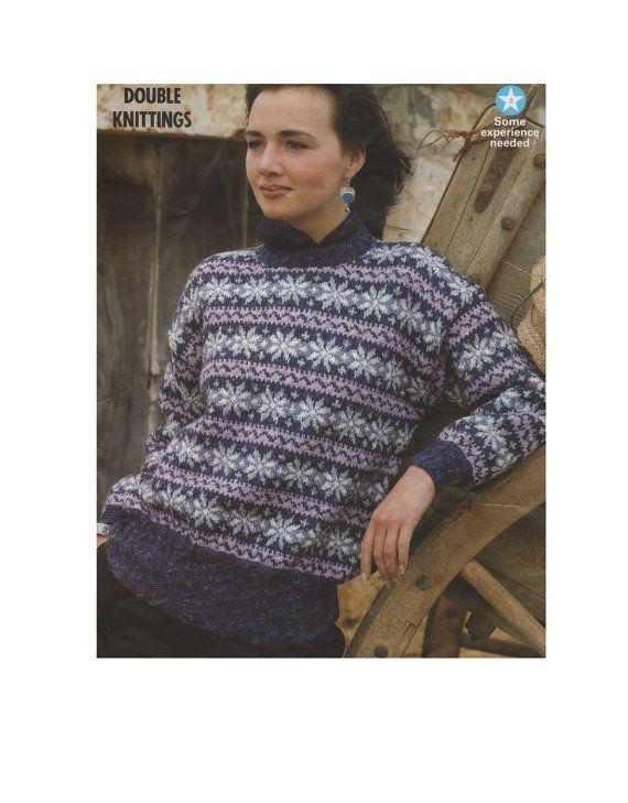 Womens Fair Isle Sweater PDF Knitting Pattern : Ladies 30, 32, 34 ...