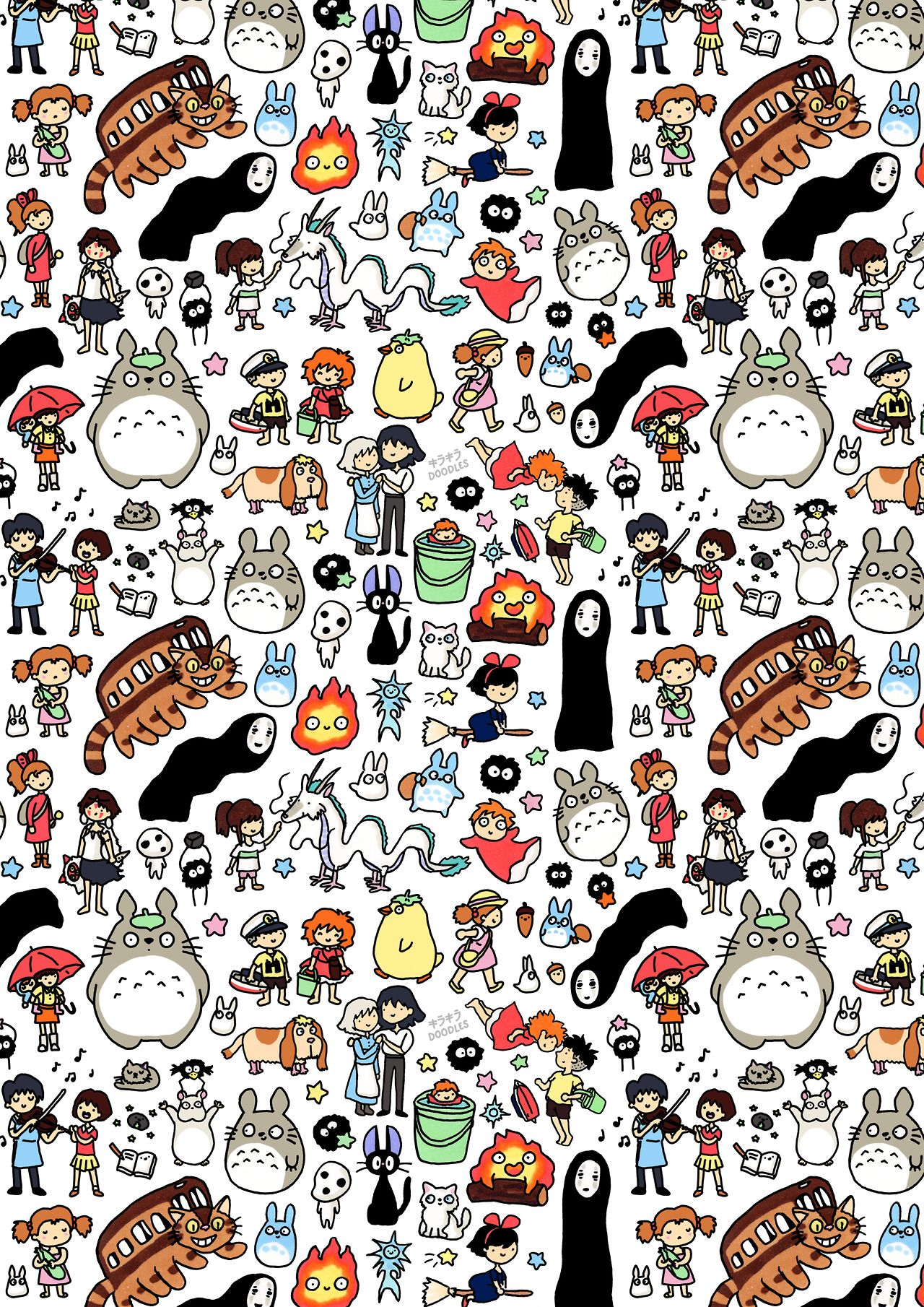 Kawaii studio ghibli character doodles with favourite for Doodle characters