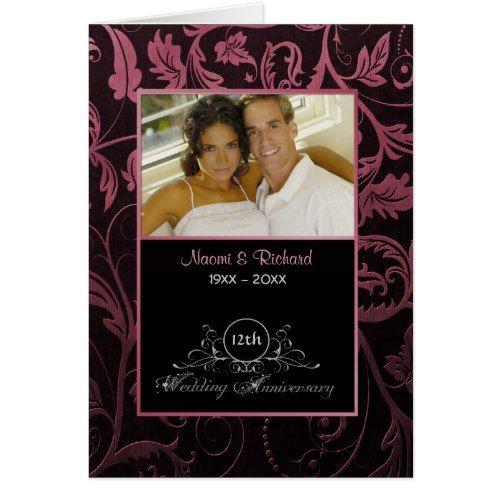 Black Raspberry Damask 12th Wedding Anniversary Card