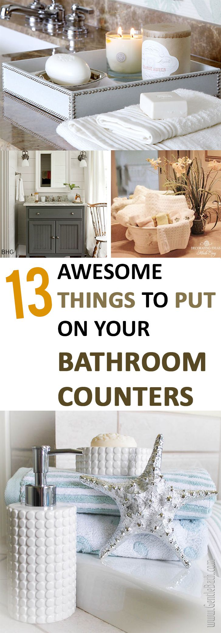 13 awesome things to put on your bathroom counters diy - How to decorate a bathroom counter ...