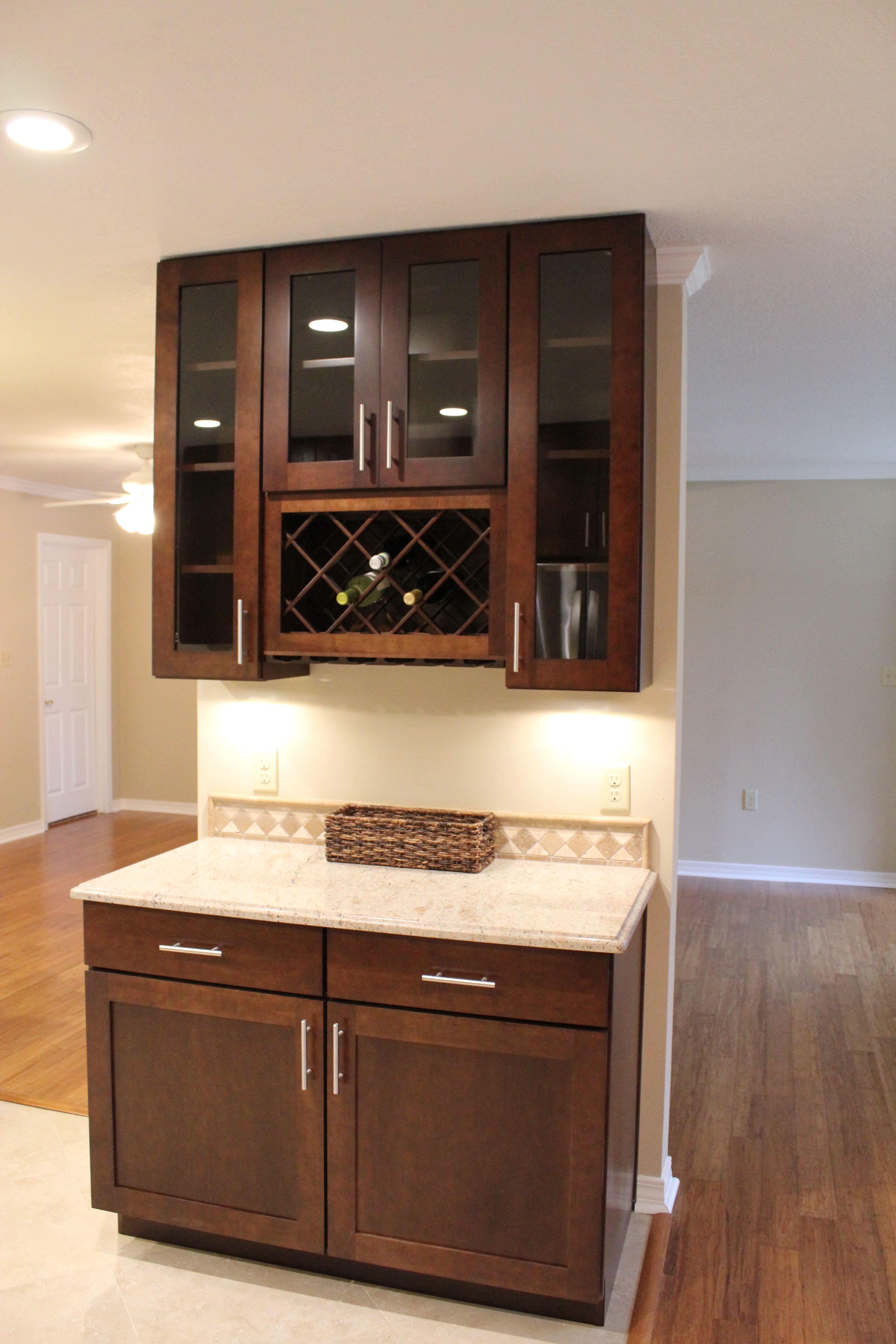 Wellborn Cabinetry Sienna Glaze Prairie Door Style Mini Bar New Kitchen Kitchen Mini Bar