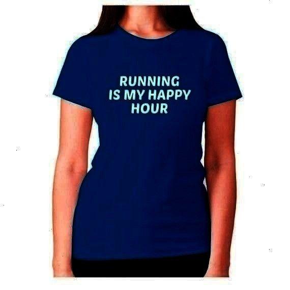 ladies workout  Running is my happy hour  womens premium tshirt  Womens funny gym tshirt slogan tee ladies workout  Running is my happy hour  womens premi Womens funny gy...