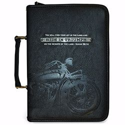 Look tough with this Large Bible Cover - God's Garage - Ride in Triumph!!! Don't mess with me!!