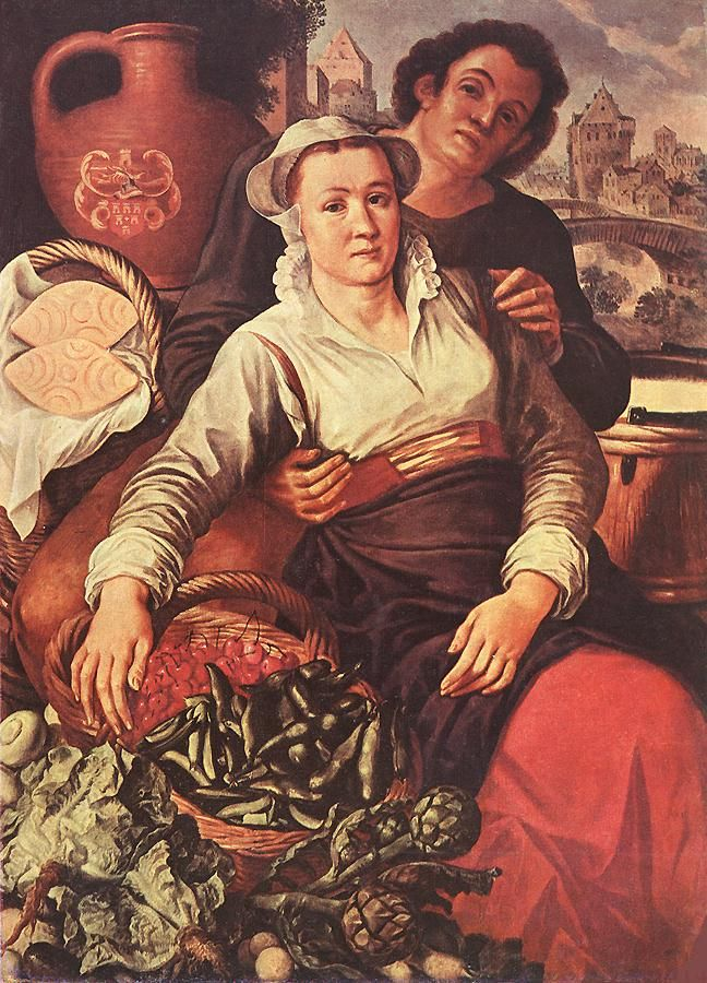 Joachim Beuckelaer    headwear  lots of reds in these dutch dresses     http://www.wga.hu/art/b/beuckela/market.jpg