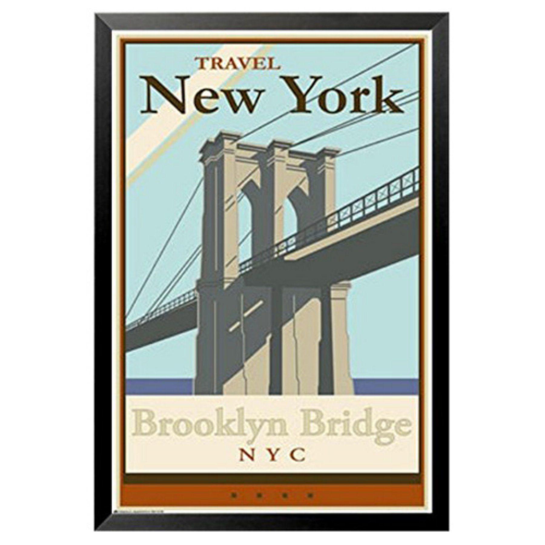 buyartforless Travel New York City - Brooklyn Bridge Framed