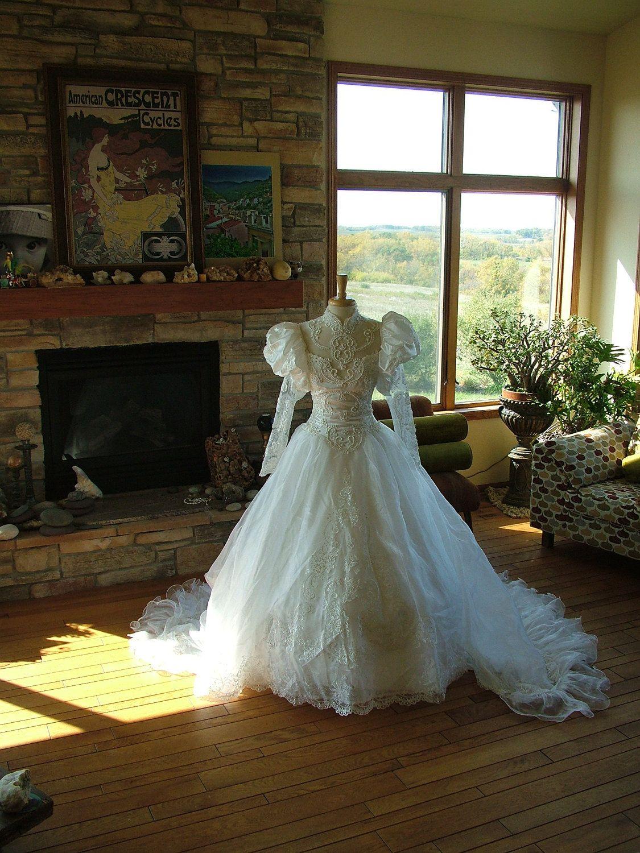 Wedding dress opulent 1980s bridal gown ruffles pearl