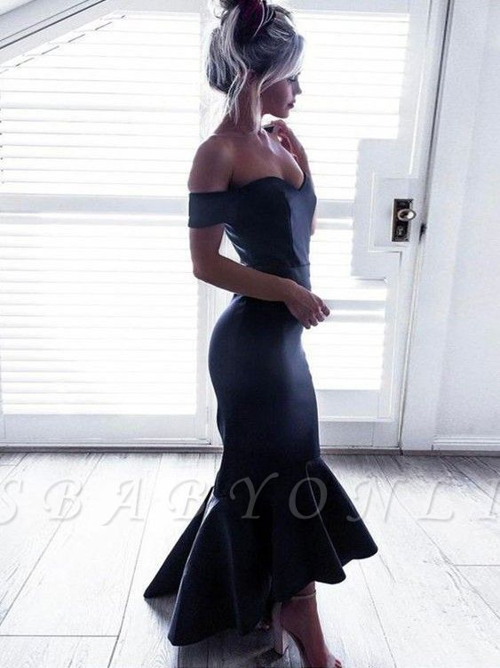 High-Low Ruffle Off-The-Shoulder Mermaid Short-Sleeves Black Chic Prom Dresses