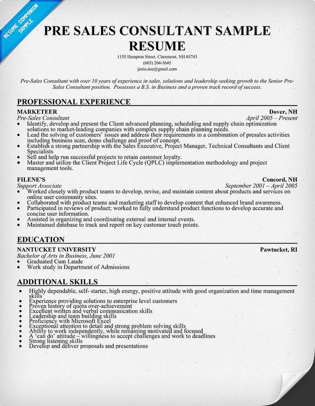 Pre #Sales Consultant Resume Sample (resumecompanion) Resume - Fitness Consultant Resume