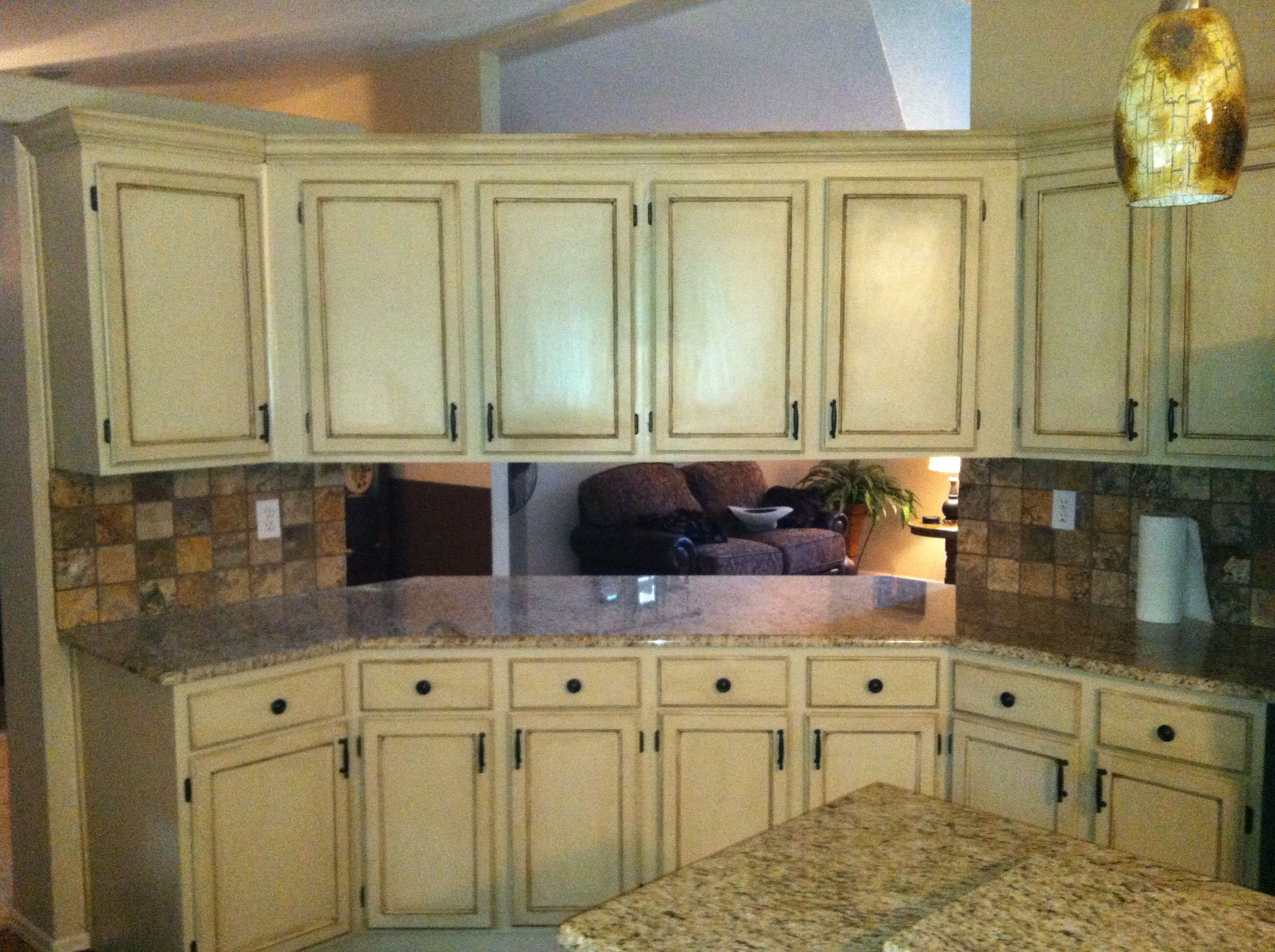 Painted beige and faux finished cabinets  Kitchens  Pinterest