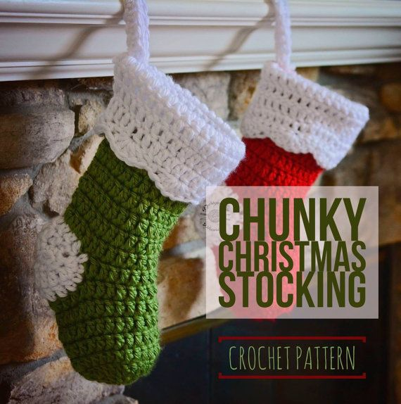 Crochet Chunky Christmas Stocking PATTERN Crochet PATTERN Simple Free Crochet Christmas Stocking Patterns
