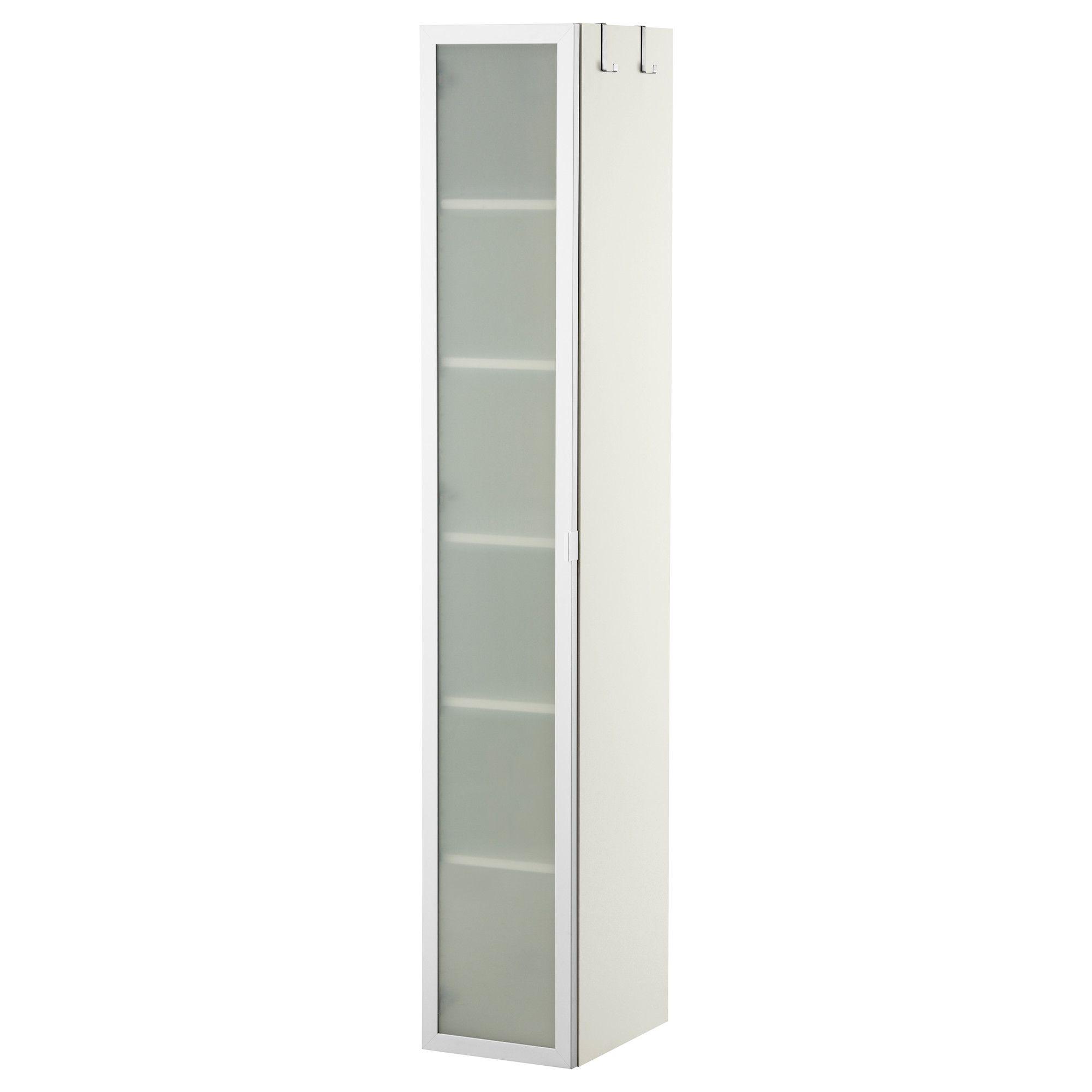 LILLÅNGEN Hoge kast wit, aluminium 30x38x179 cm
