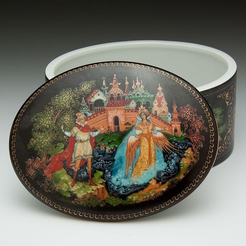 Vintage Wooden Hand Painted Russian Brooch-Tale of Tsar Saltan