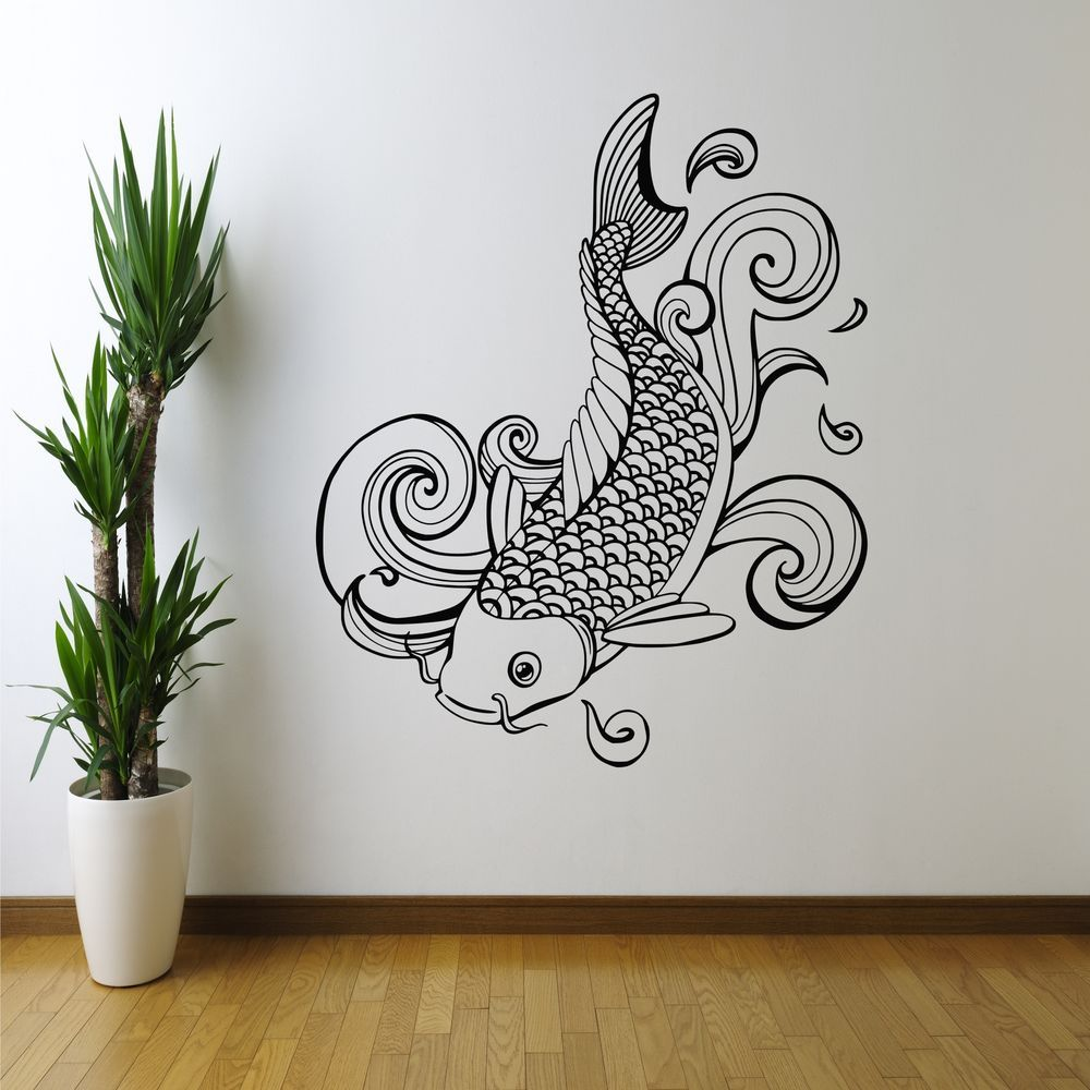 House Art Decor Chinese Painting Style Lotus Carp Pattern Wall Sticker Decal