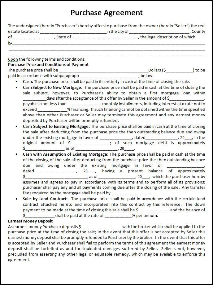 Free Purchase Agreement Template Free Word Templates - purchase