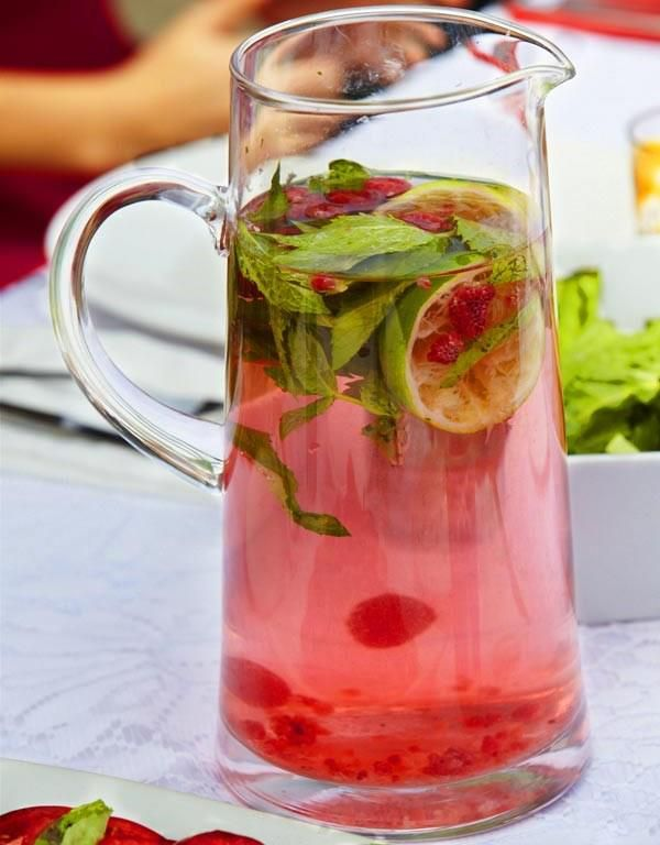 Raspberry, Lime & Mint Water 2 liters cold water 2 cups ...
