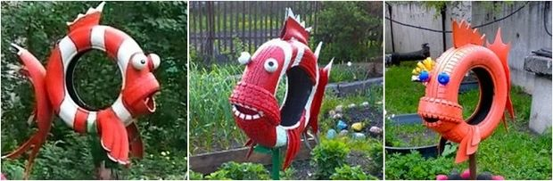 Garden Art Ideas hanging wooden basket Tire Recycling Ideas 22 Animal Shaped Garden Decorations