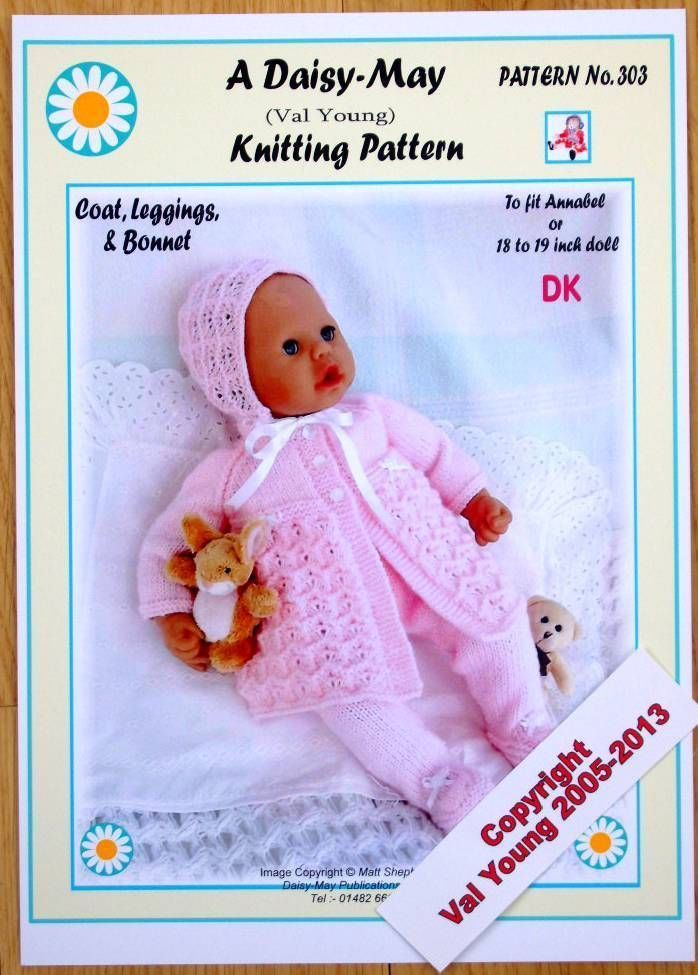 1 DOLL\'S KNITTING PATTERN FOR 18 -19 INCH DOLL by Daisy May No 303 ...