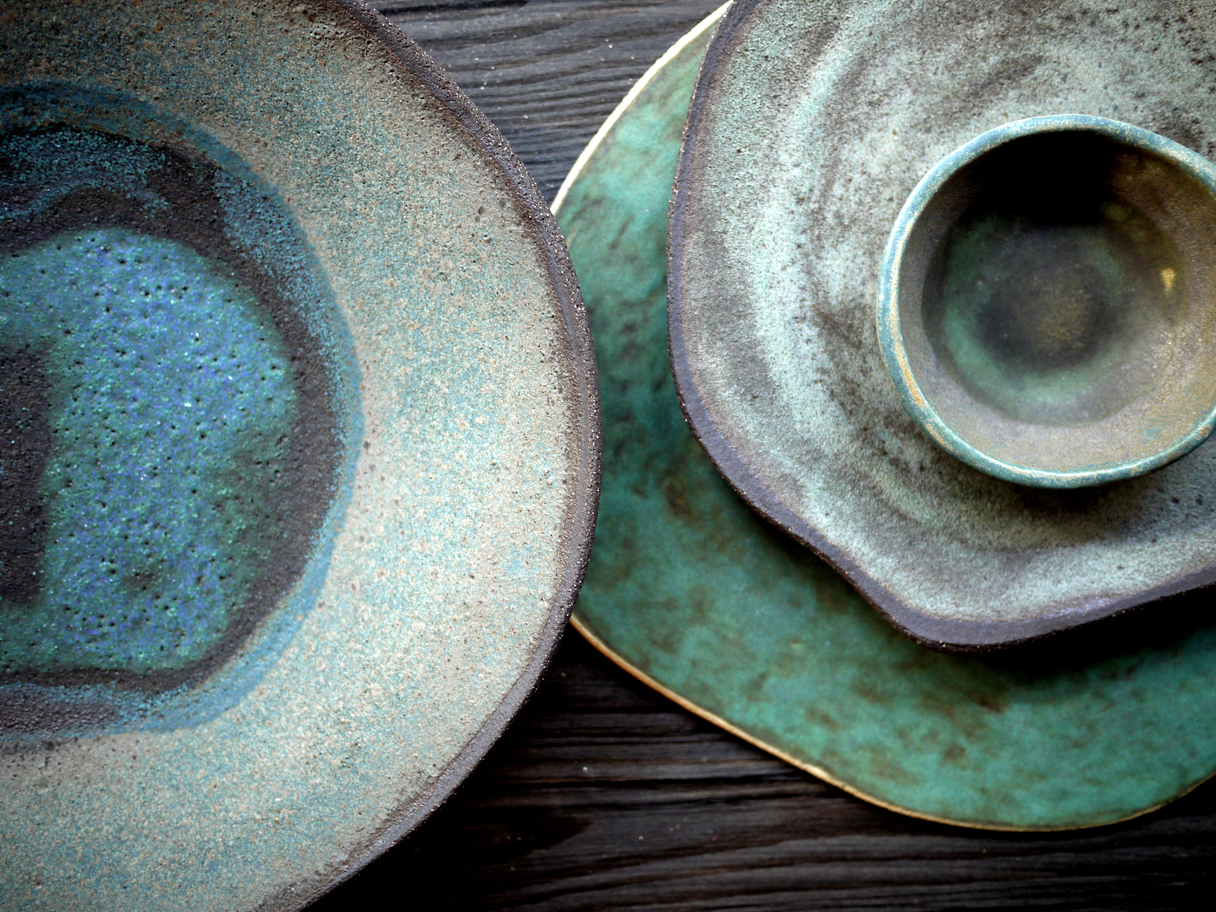 Rusty Plates Green Nature Inspired Decoration Gift Idea On The Table Plate Bowl Handmade Ceramics Plates Plates And Bowls Plates