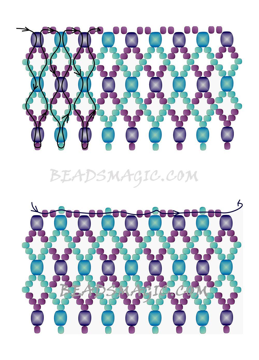 Libre-rebordear-patrón-collar-tutorial-2 | Collares | Pinterest ...