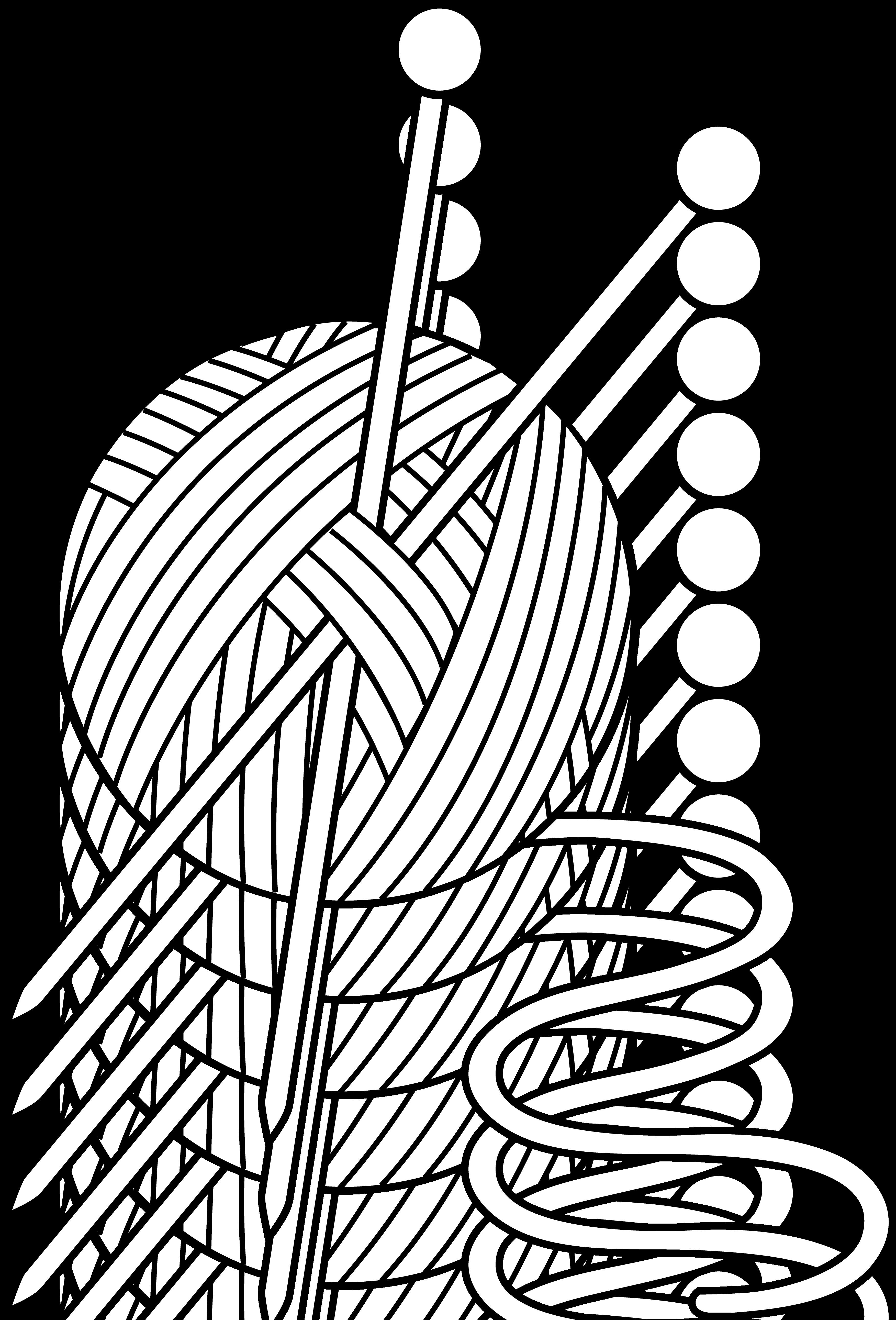 Black and White Knitting Set Free Clip Art Free clip