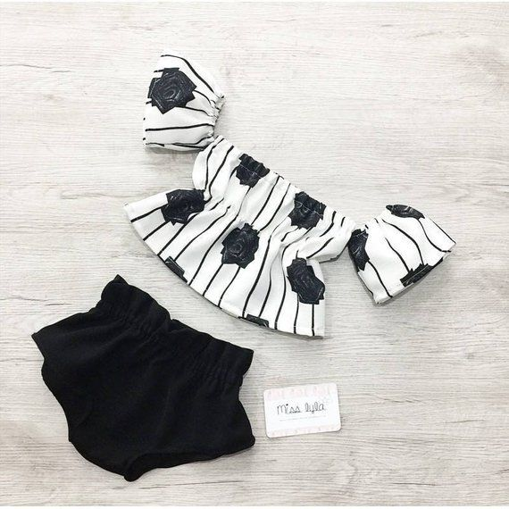 baby girl set, summer outfit, black, white, off the shoulder, top shorts set, vintage outfit, baby girl outfit, toddler set, baby girl gift