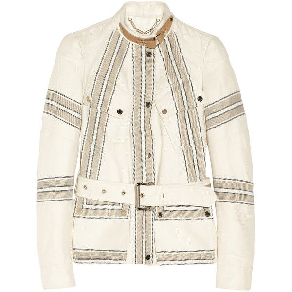Belstaff Speedmaster linen and cotton-blend twill jacket (€850) ❤ liked on Polyvore featuring outerwear, jackets, jakne, white jacket, white linen jacket, flap jacket, horse jacket and twill jacket