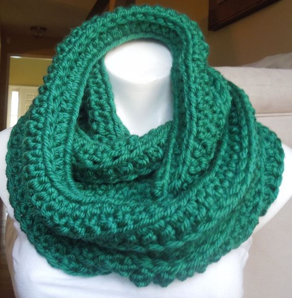 Chunky Green Infinity Scarf by AurellaBlue on Etsy, $30.00