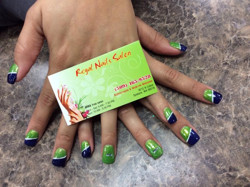 seahawk nails, sports nail art, football nail art, lime
