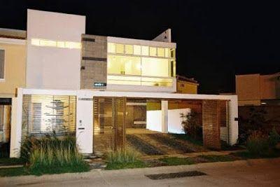 Fachadas de casas modernas residencia moderna con cochera for Casas minimalistas modernas con cochera subterranea