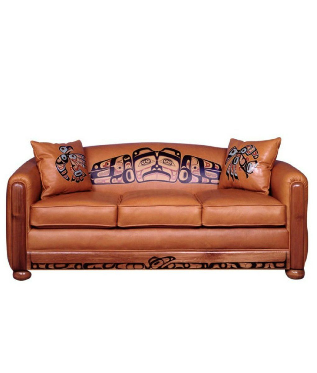 Leather Sofa Has Native American Tribal Art Hand Painted All Across The Seat Back And Kick Plate On 2 Matching Pillows Northwest Indian