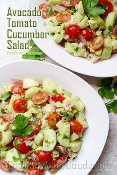Avocado Tomato Cucumber Salad FoodForYourGood.com I #avocado_tomato_cucumber_salad
