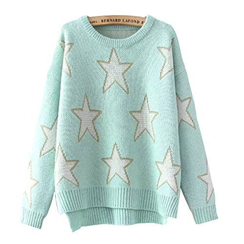 d5b16b1f9eda89 HEYFAIR Womens Star Pattern Knitted Pullover Sweater Jumper green -- Click  image for more details.