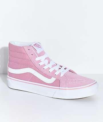 7f28ca56f6 Vans Sk8-Hi Slim Zephyr Pink   White Skate Shoes