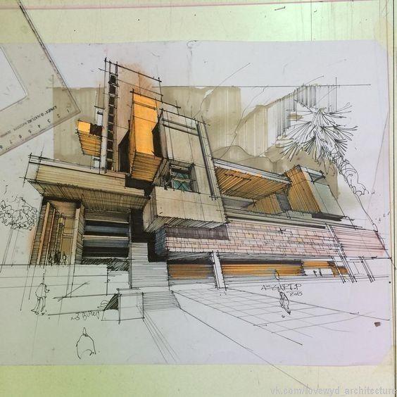 Skizzen Zeichnungen Plastik Architektur Skizzenbuch Portfolio Architektonische Illustrationen Moderne Perspektiven Skizze