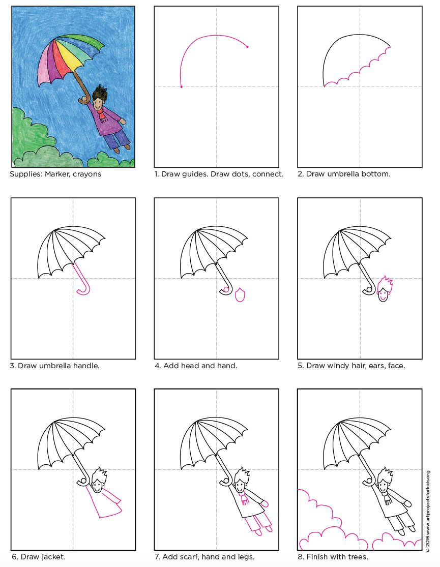Flying Umbrella Kid Tutorial Art Projects For Kids Kids Art Projects Art Drawings For Kids Drawing For Kids