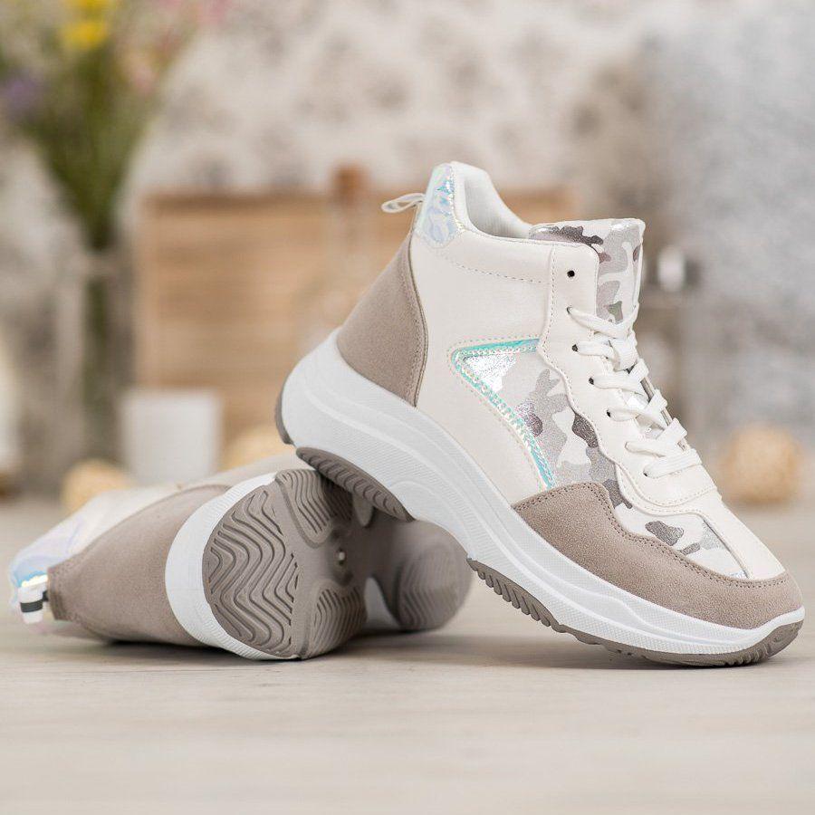 Ideal Shoes Wysokie Buty Na Platformie Biale Brazowe Wielokolorowe Shoes Puma Sneaker Sneakers