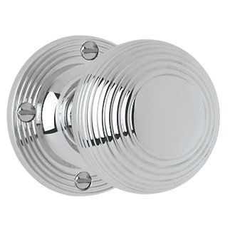 Jedo Ribbed Mortice Knob Pair Polished Chrome 53mm | Mortice Door ...