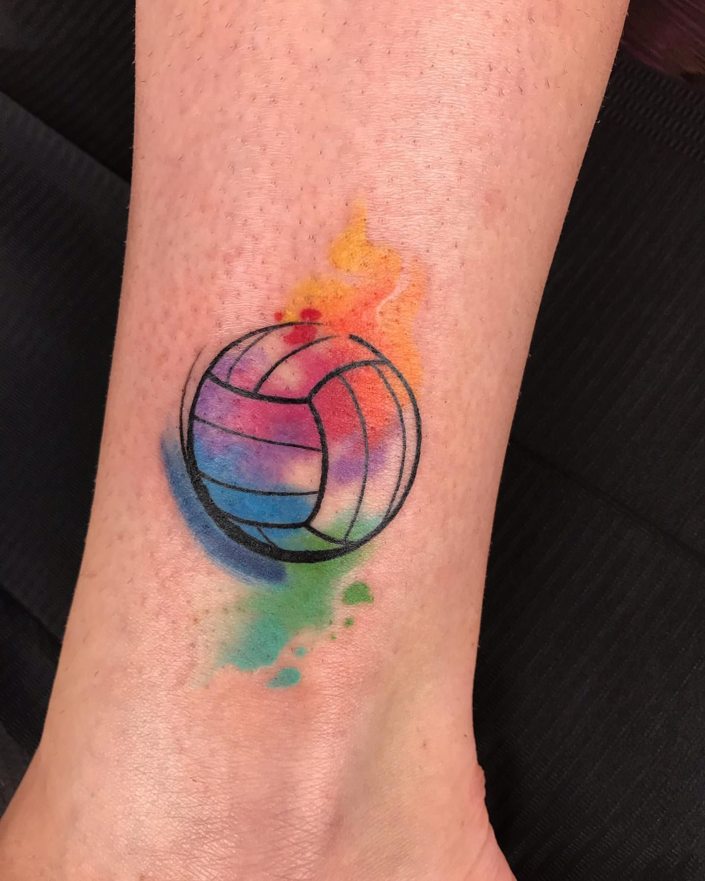 Volleyball Watercolor Tattoo In 2020 Volleyball Tattoos Small Watercolor Tattoo Watercolor Tattoo Words