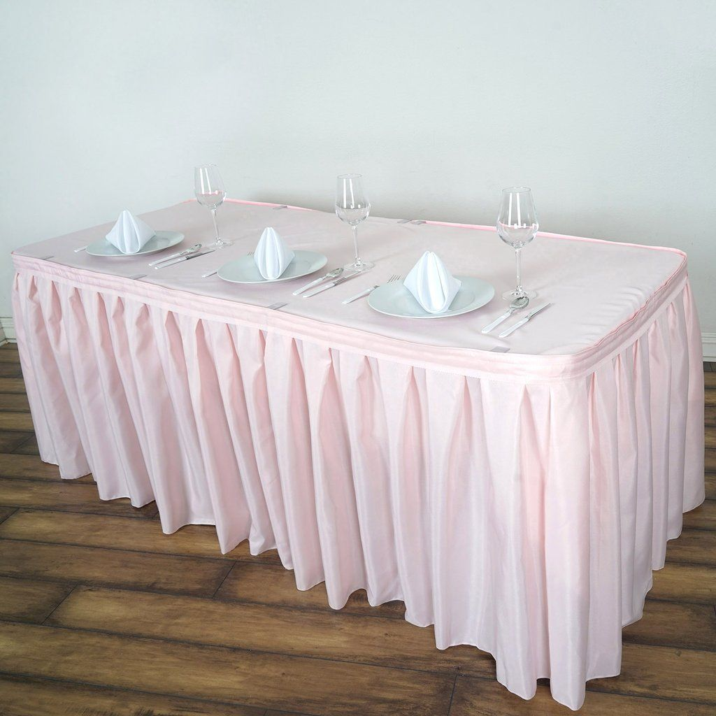 21ft Rose Gold Blush Pleated Polyester Table Skirt Table Skirt