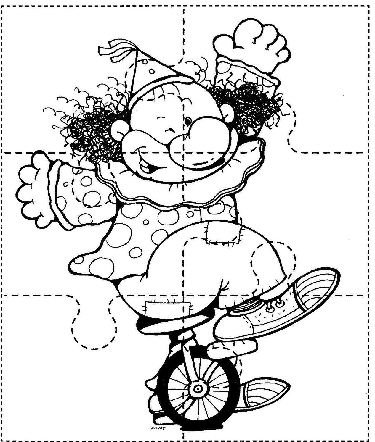 Desenhar Desenhos: Quebra Cabeça Palhaços E Coelhos Para