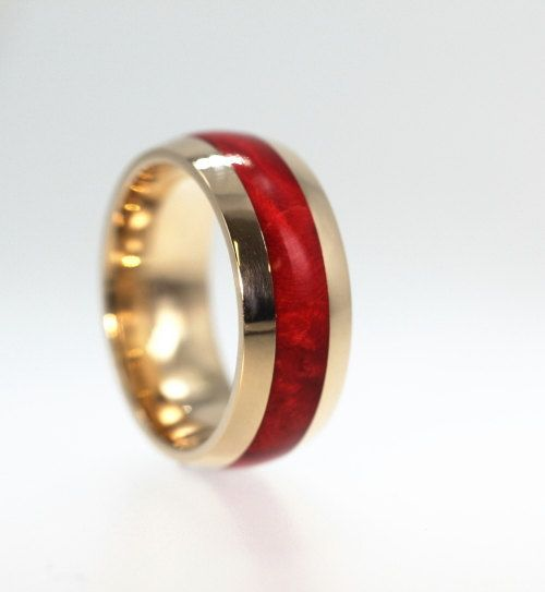 Gold Wedding Band Ring Mens Womens Unique Handmade Ruby Redwood Yellow Armor Waterproofed