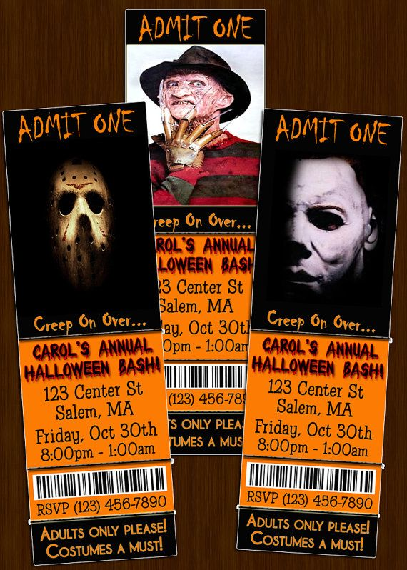 custom halloween party ticket invitations