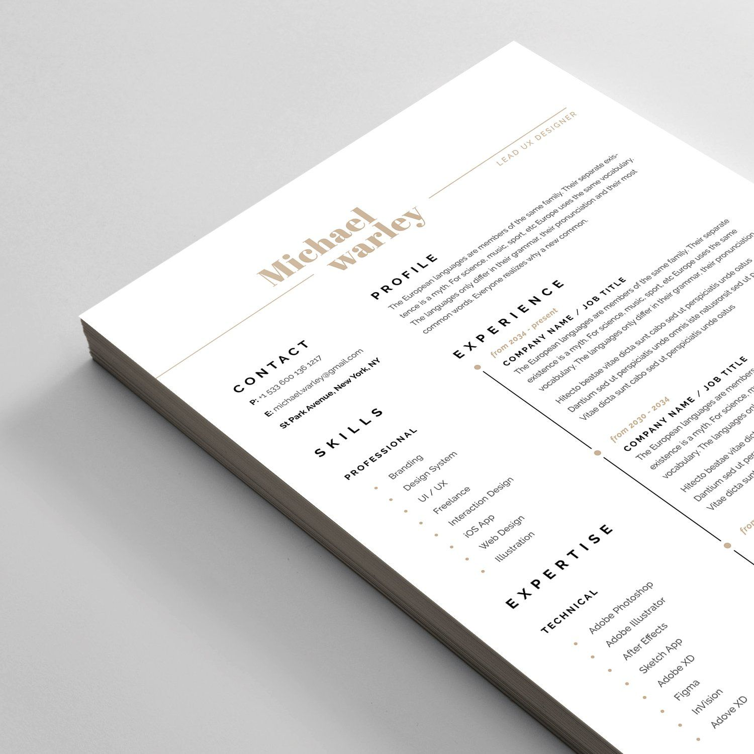 Resume Cv Unique Resume Template Resume Cv Letterhead Design