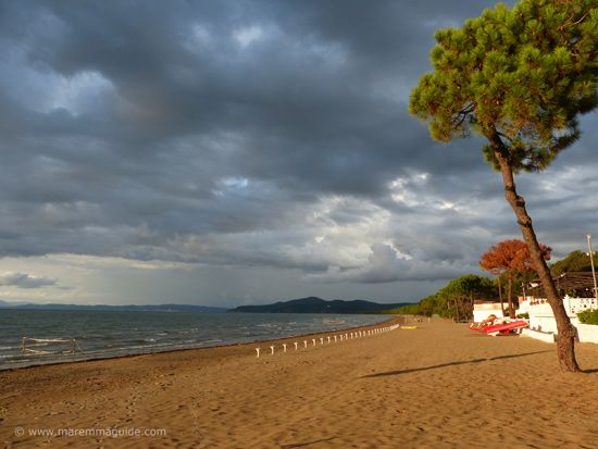 Punta Ala beach in Maremma Tuscany on an early October evening
