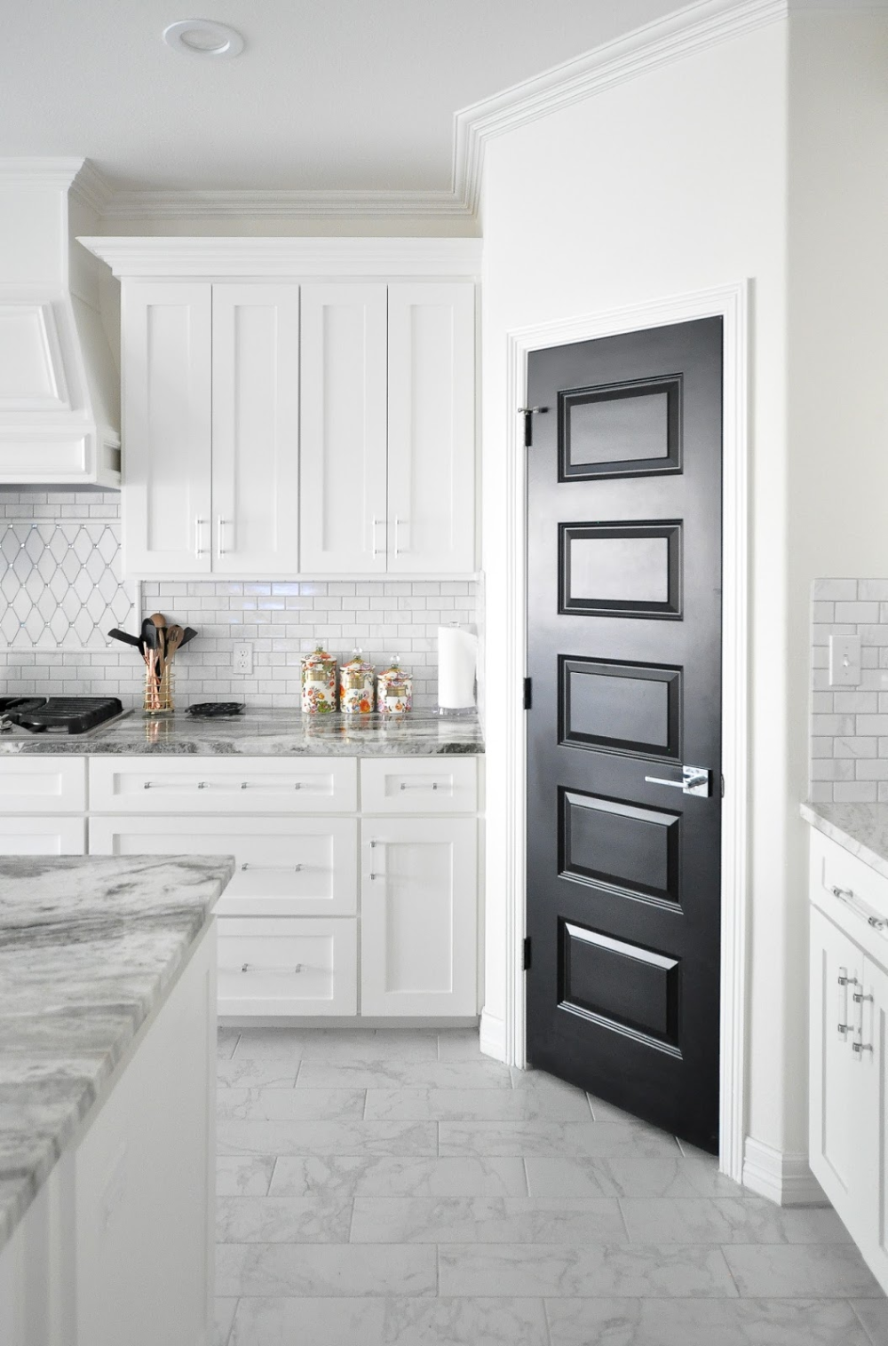 Living With Black Interior Doors 6 Month Update White Shaker Kitchen Kitchen Remodel Small White Shaker Cabinets