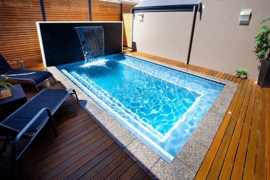 Comfortable Small Backyard Swimming Pool In Rectangular Design: Minimalist  Backyard Deck Design Small Backyard Swimming