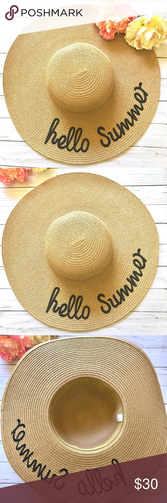 ac6b4041a76 Sun Hat Beach Hat Straw Hat Hello Summer Sun Hat Beach Hat Straw Hat Hello  Summer NWOT 18