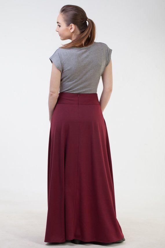 Burgundy long skirt with pockets Maxi burgundy skirt Office skirt Burgudny  autumn winter skirt Long in 2019